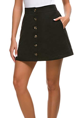 Lady Mini Button - Aline Mini Skirt for Women with Front Button High Waist Skirt for Sweater,Lady's Black Corduroy-Like Mini Skirt with Pockets(Black,XS)