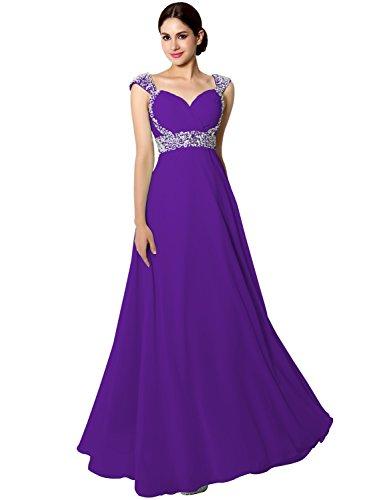 Elegant Brautjunfernkleid Violett Damen Abendkleid Lang Träger Glitzer Ballkleid mit CSD179 Clearbridal wfXPAq