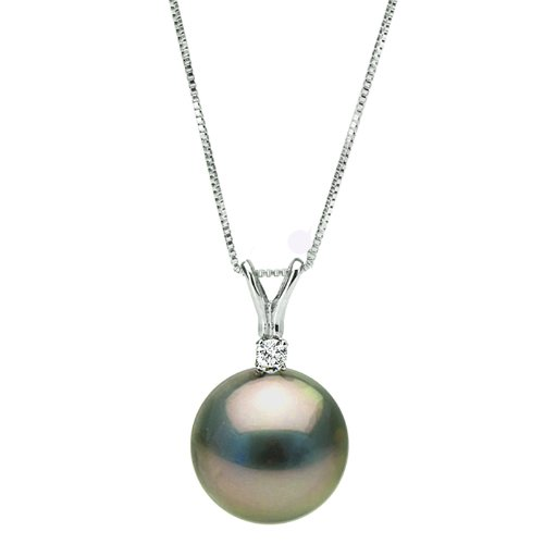 Black Tahitian Cultured Pearl and Diamond Forever Pendant, Sizes 9.0-13.0mm - 14K White Gold -16-Inch Choker Length Box Chain with Spring Ring Clasp. - As Featured (Diamonds 13mm Tahitian Pearl Ring)