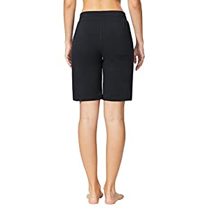 Baleaf Women's Active Yoga Lounge Bermuda Shorts With Pockets Black Size L