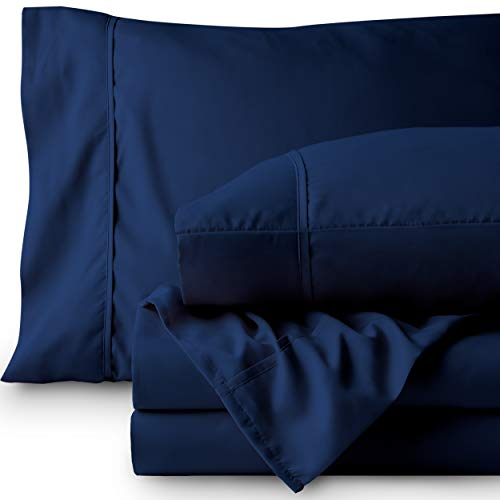 Bare Home Premium 1800 Ultra-Soft Microfiber Sheet Set Full Extra Long - Double Brushed - Hypoallergenic - Wrinkle Resistant (Full XL, Dark Blue)