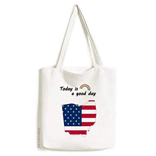 (Ohio USA Map Stars Stripes Flag Shape Tote Canvas Bag Craft Washable Fashion Shopping Handbag)
