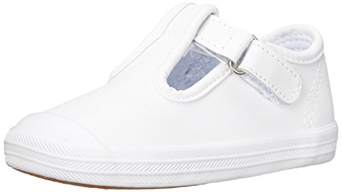 Keds Girls Champion Toe Cap T-Strap Sneaker , White Leather, 6 M US Toddler