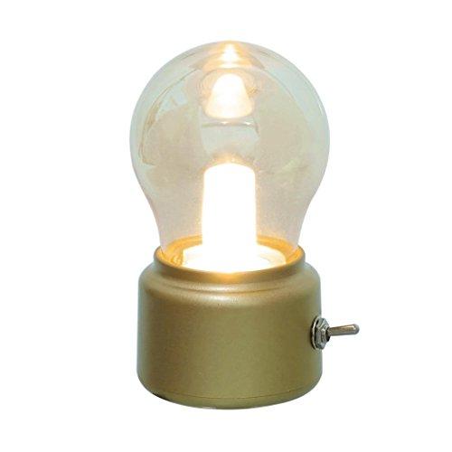 Digood Retro Bulb USB Chargeable Kid Bedside Night Sleeping Lamp Light Battery (Gold)