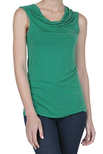 iliad USA 8006 Women's Cowl Neck Ruched Draped Blouse Tank Top KellyGreen M