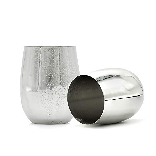 - Bezrat Stainless Steel Wine Glasses: 2-Pack Unbreakable Stemless Wine Tumblers Set | Luxurious Mirror Finished Shatterproof Wine Goblets |Travel Tumbler Cups for Home Office BBQ & Picnic
