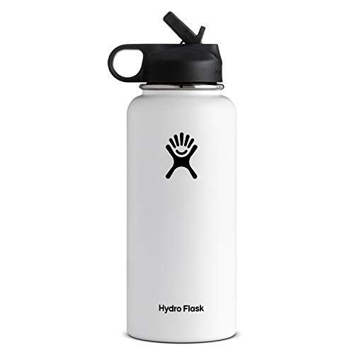 Hydro Flask Vacuum Insulated Stainless Steel Water Bottle Wide Mouth with Straw Lid (White, 32-Ounce) (What Is Very Good Condition)