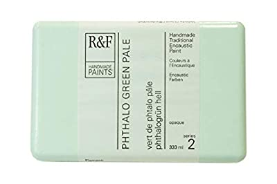 R&F Handmade Paints 122K encaustic Paint Cake, 333ml, Phthalo Green Pale