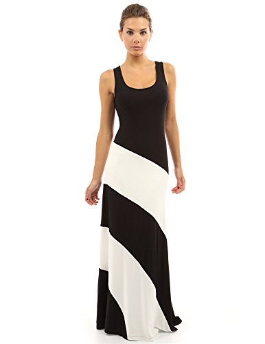 (PattyBoutik Women Racerback Striped Maxi Dress (Black and Ivory White Medium))