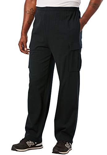 (KingSize Men's Big & Tall Jersey Knit Cargo Pants, Black)