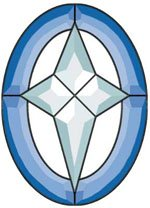 - Stained Glass Supplies Flat Blue Star Glass Bevel Cluster