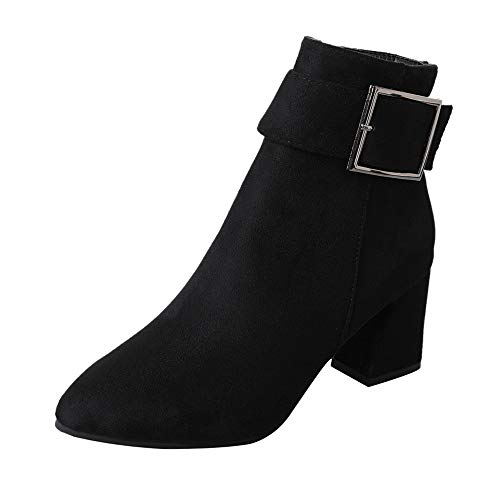 discount XUANOU High Heel Suede Boots Women Fashion Belt Buckle Casual Shoes Martin Boots Boots for cheap