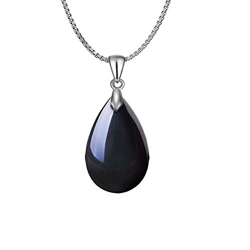 - OCARLY 925 Black Obsidian Drop Pendant with Faint Rainbow Eyes Necklace Amulet Gemstone Stainless Steel/Titaniu/925 Chain Necklace