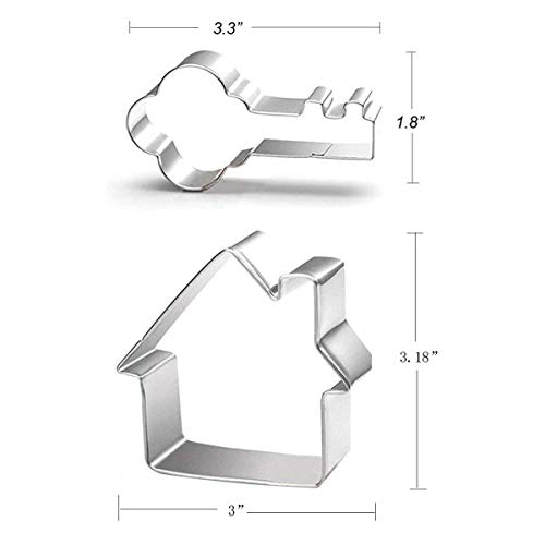 Key and House Cookie Cutter Set - 2 Pieces - Food Grade Stainless Steel
