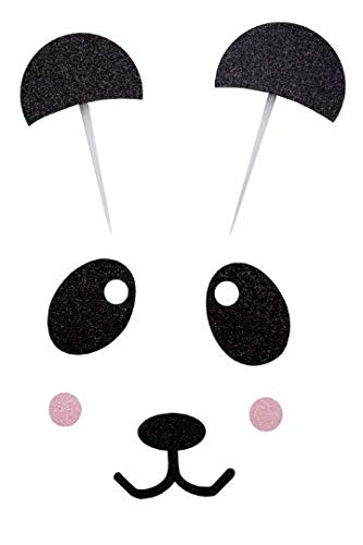 Handmade Panda Birthday Cake Topper Decoration - Panda- Made in USA with Double Sided Glitter Stock (Cake not Included)