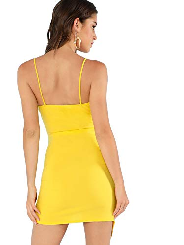 d9af9248239e Verdusa Women's Sexy Ruched Side Asymmetrical V Neck Bodycon Cami Dress