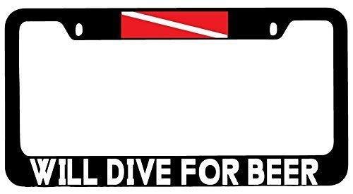eFG Will Dive for Beer Black Metal License Plate Frame Flag TOP ()
