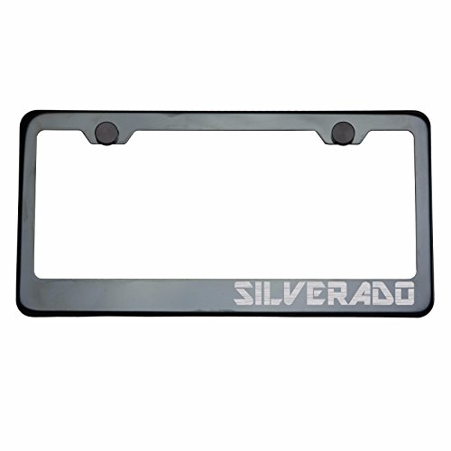 One Black Smoke Chrome Titanium Gun Metal T304 Stainless Steel License Plate Frame Holder Front Or Rear Bracket SILVERADO Laser Engraved Etched Brush Silver Lettering with Aluminum Screw - Lettering Corvette Silver