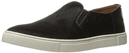 FRYE Women's Gemma Block Slip Haircalf Fashion Sneaker, Black Hair Calf/Snake, 8 M US