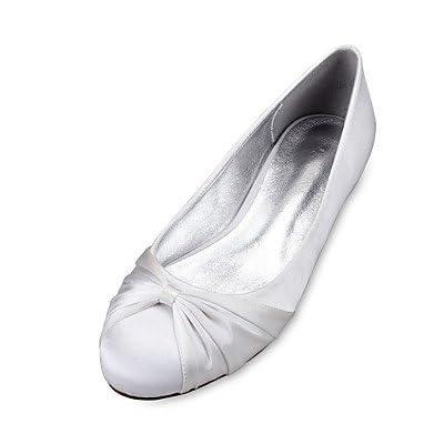 Le meilleur cadeau pour femme et mère Femme Chaussures Satin Printemps Eté Confort Ballerine Chaussures de mariage Talon Plat Bout rond Fleur en Satin Ruban Volants pour , us5.5 / eu36 / uk3.5 / cn35