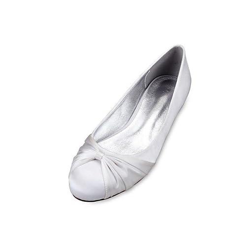 Le meilleur cadeau pour femme et mère Femme Chaussures Satin Printemps Eté Confort Ballerine Chaussures de mariage Talon Plat Bout rond Fleur en Satin Ruban Volants pour , us10.5 / eu42 / uk8.5 / cn43