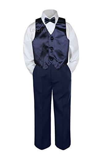 Leadertux 4pc Baby Toddler Boys Navy Blue Vest Bow Tie Navy Blue Pants Suits S-7 (2T) (Tux With Red Vest And Bow Tie)