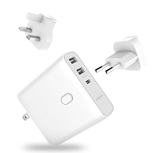 Pisen 2-in-1 USB Wall Charger - 5000mAh Portable Charger & Wall Adapter with Folding AC Plug & 2 USB Outputs & External Battery + UK/ EU Adapters For iPhone, iPad, Samsung Galaxy Bluetooth and More