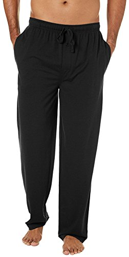 YAORUI Men's Pajamas Pants,100% Knit Cotton Sleep Long Lounge Pants-Black L