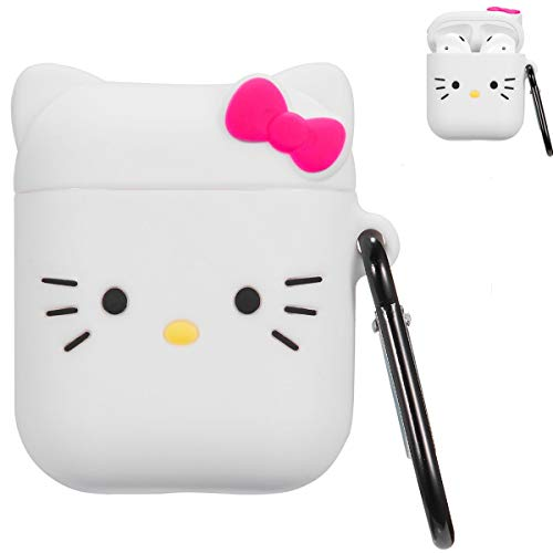 Mulafnxal Compatible with Airpods 1&2 Case,Cute 3D Funny Cartoon Character Animal Silicone Airpod Cover,Kawaii Fun Catalyst Keychain Design Skin,Cases for Girls Kids Teens Boys Air pods(White Kitty)