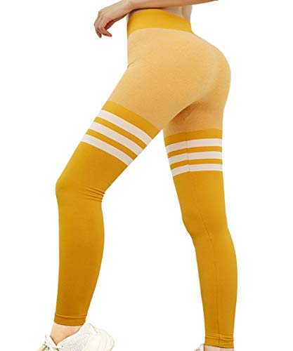 GILLYA Gym Workout Ombre Leggings for Women Vital Seamless High Wasted Yoga Pants Tummy Control Seamless Athletic Tights (Yellow,Small)