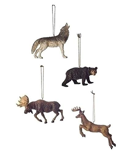 Wolf, Bear, Moose Deer 4 Inch Resin Christmas Ornament Set of 4