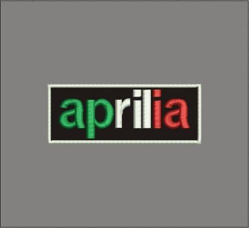 Patch APRILIA tricolore su fondo nero cm 8 x 3 toppa ricamata ricamo REPLICA–547 MAREL
