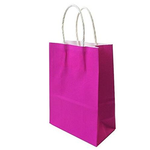 Dayhop 40PCS/Lot Kraft Paper Bag With Handles/21158Cm/Festival Gift Bags For Wedding Baby Birthday Party Hot pink 15x21x8cm