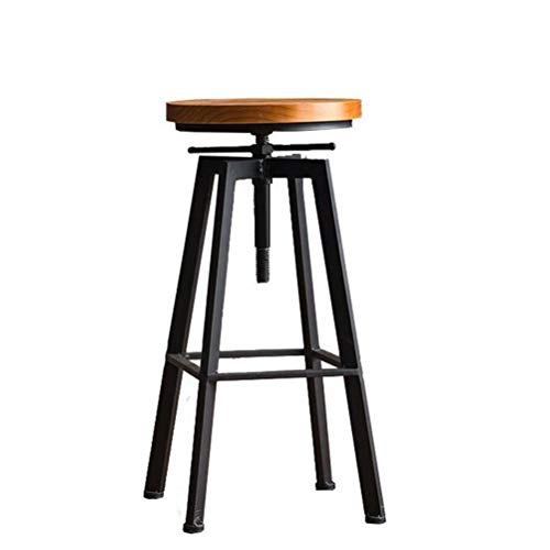 LRZS-Furniture American Solid Wood Iron Art Makes Old Computer Chair, Bar Chair, Retro Chair, Restaurant Chair, Leisure Chair, Lift Bar Chair and Bench (Color : ()