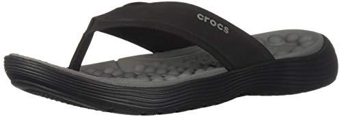 Crocs Men's Reviva Flip Flop, Black/Slate Grey, 10 M US