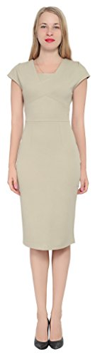 Marycrafts Women's Cocktail Party Office Business Ponte Sheath Dress 18 Tan