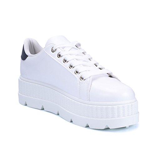 10h Zeppa Scarpe Eco Ginnastica Para Blu Fitness Pelle Donna Sportive Sneakers 256 Mforshop Ow0PqP