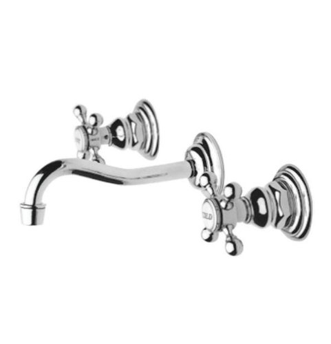 Newport Brass 3-9301/15A Chesterfield Double Handle Widespread Wall Mounted Lavatory Faucet with Metal Cr, Antique Nickel ()