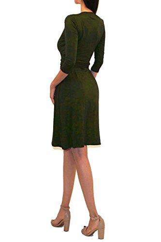 Waist Faux Vivicastle Olive Wrap V Dd71 Midi Sleeve Tie Dress Neck Printed 3 Women's 4 006RZz
