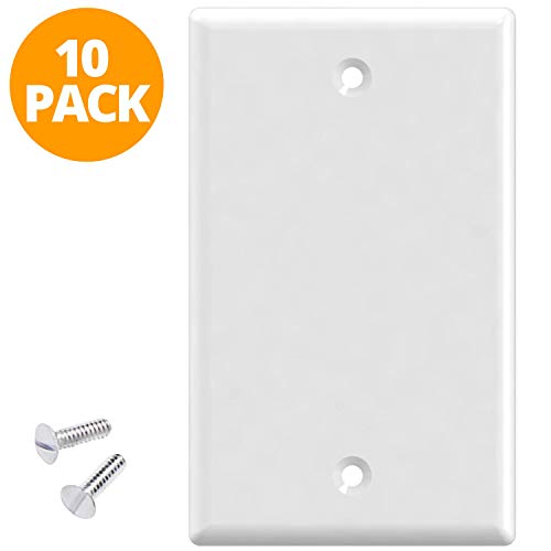 Blank Outlet Covers by Standard (10 Pack) | Blank Wall Plate White