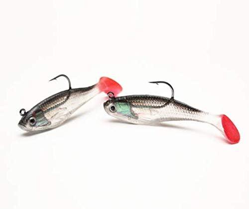 WYSUMMER Fishing Lure Set 5Pcs 8cm Soft Bait Lead Head Sea Fish Lures Fishing Tackle Sharp Treble Hook T Tail Artificial Bait
