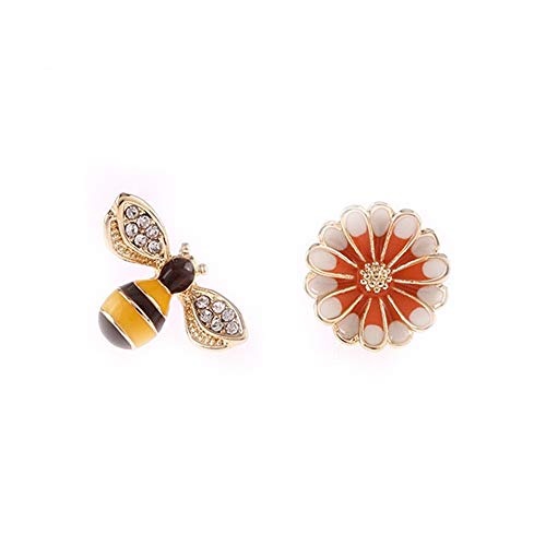 Earrings Flower Rhinestone Clip - GRACE JUN Enamel Flower Bee Clip on Earrings No Pierced for Women Party Wedding Charm Ear Clip No Allergy (J623-Flower bee)