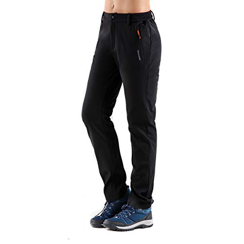 Tofern Womens Winter Warm Breathable Waterproof Windproof Softshell Pants Outdoor Hiking Climbing Camping Cycling Trousers, New-Black US Size M (Lable XL)