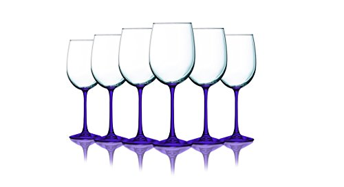 (Purple Wine Glasses with Beautiful Colored Stem Accent - 19 oz. set of 6- Additional Vibrant Colors)