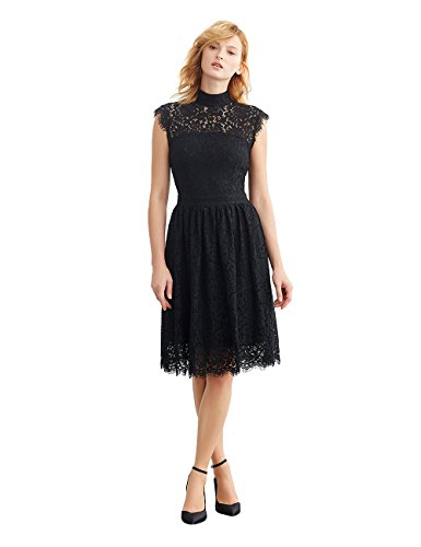 volume one neck cap sleeve lace dress