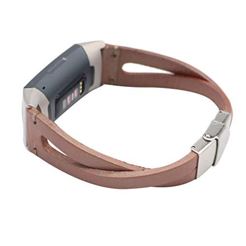 2019 Great Best Gift !!! Cathy Clara Fashion Style Genuine Leather Watch Band for Fitbit Charge 3,Replacement Leather Wristband Band Strap Bracelet for Fitbit Charge ()