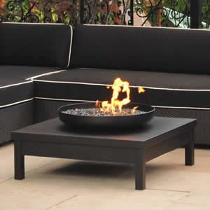 Black Powder Coated Gas Fire Pit Table Garden Outdoors
