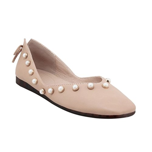YOUJIA Womens Beaded Pumps Dolly Flats Square-Toe Flaty Office Slip On Casual Shoes Pink