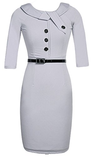 Happylife12 Women's Button Business Knee Length Pencil Dress M