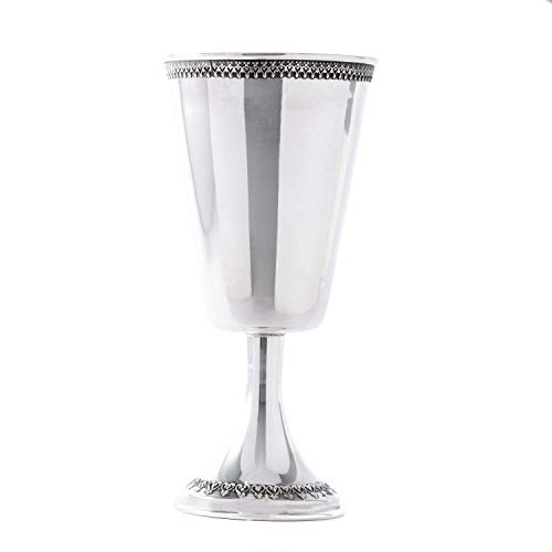 Sterling silver Kiddush cup tall wine goblet traditional Judaica heart decorations filigree gold coating Jewish Wedding Gift (Kiddush Cup Sterling Silver)